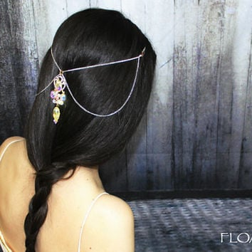 Bridal Hair Jewelry Head Piece, White Head Chain, Bohemian Hair Chain