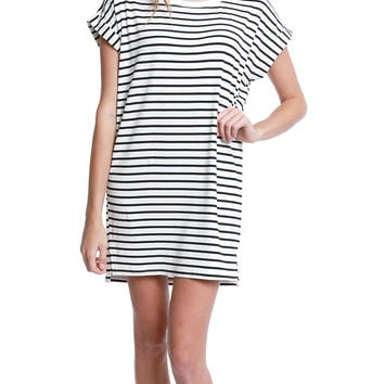 Offline Stripe Jersey Dress - Ivory/Black