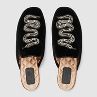 Gucci Velvet evening slipper with snake