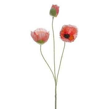 """Pink Salmon Artificial Poppy Flowers - 20"""" Tall"""