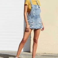 minkpink - trash talk pinnie overall skort - distressed vintage blue