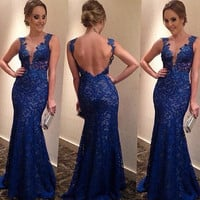 Backless Women's V-neck Formal Long Dress