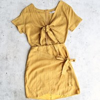 final sale - reverse - remember a day dress - mustard