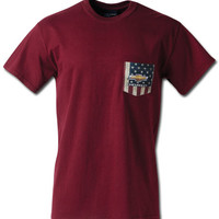 Chevrolet American Flag Maroon Pocket T-Shirt-Chevy Mall