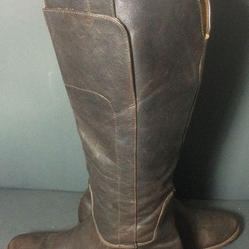 Frye 77535 Paige Tall Riding Brown Leather Motorcycle Biker Boots Women's Size 9.5