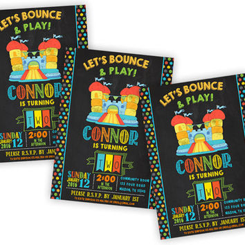 Bounce House Birthday Invitation - Chalk Bouncey House Invite - Bounce Party Invitations - Boy Birthday - Jump Party - Bounce Castle