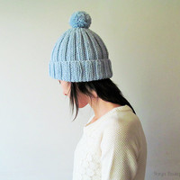 Hand Knitted Chunky Hat in Ice Blue - Beanie with Pom Pom - Seamless - Wool Blend - Made to Order