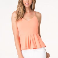 bebe Womens Solid Pleated Peplum Top