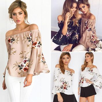 Women's Off Shoulder Casual Top Shirt Ladies Loose Blouse Summer Floral T-shirts