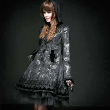 PUNK RAVE lolita butterfly flocking rose button long coat with hat LY-046