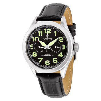 Invicta Vintage Black Dial Black Leather Mens Watch 11741