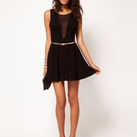ASOS PETITE Exclusive Skater Dress With Chiffon Insert at asos.com