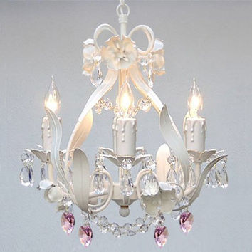 WHITE IRON CRYSTAL FLOWER CHANDELIER LIGHTING W/ PINK CRYSTAL HEARTS! - PERFECT FOR KID'S AND GIRLS BEDROOM! - A7-B21/WHITE/326/4