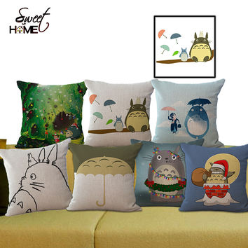 "Square 18"" Cotton Linen Decorative Sofa Throw Cushion My Neighbor Totoro Pattern Pillow Cushion 45X45cm without filling"