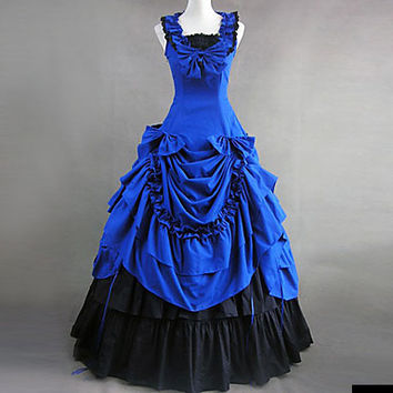 Sleeveless Floor-length Blue Cotton Victorian Gothic Lolita Dress Alternative Measures - Brides & Bridesmaids - Wedding, Bridal, Prom, Formal Gown