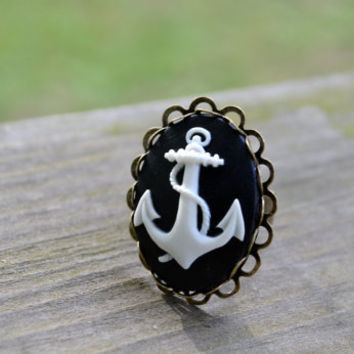 Anchor Ring - Nautical Ring  - You Pick the Color
