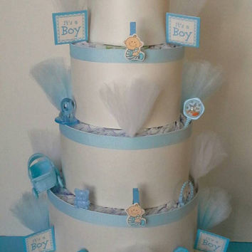 Blue and White Themed Baby Shower 5 Tier Diaper Cake Table Centerpiece or Baby Boy Sprinkle Gift