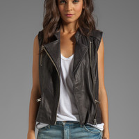 Maison Scotch Leather Vest in Black from REVOLVEclothing.com