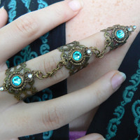 triple knuckle ring  Swarovski Turquoise nail ring nail claw nail tip armor ring  goth victorian moon goddess pagan witch boho gypsy style