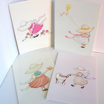 Postcard art prints kids wall art sun hat girls by wonderlaneart