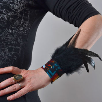 Feather Leather Cuff Bracelet - Festival Fashion -  Leather Feather Cuff - Native American Inspired - Burning Man