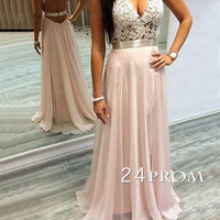 Pink A-line Lace Chiffon Long Prom Dress,Formal Dresses