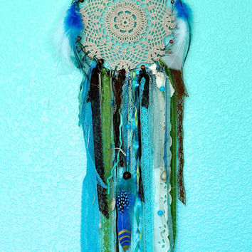 Bohemian Dreamcatcher, Doily Gypsy Dream Catcher, Blue, Hand Dyed Vintage Doily and Lace