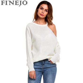 FINEJO Sexy Strapless Off Shoulder Women Sweaters Autumn Casual Long Sleeve One Shoulder Solid Slouchy Loose Pullover Sweaters