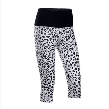 U Running Yoga Tight Women Running Capris Leopard Print Wide Waist Key Pocket Elastic Skins 3/4 Legging Bottom Sports Fitness