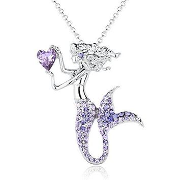 AUGUAU Fashion Mermaid Birthstone Necklace Jewelry White Gold Plated Austrian Crystal Magic Pendant Gift