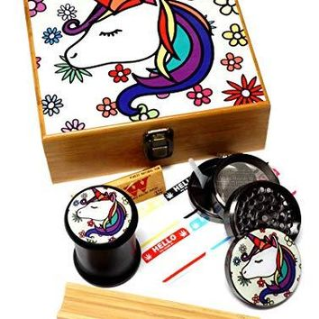 Unicorn Design - Large size Sacred Geometry Stash Box with Latch, Grinder & Pop Top Glass Jar Package (Prebaked)
