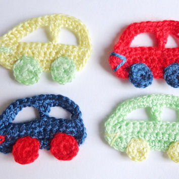 Crochet Car Applique 4pcs - From Acrylic Yarn For Boys- Crochet Supplies For Clothing, Hair Clips, Handbags