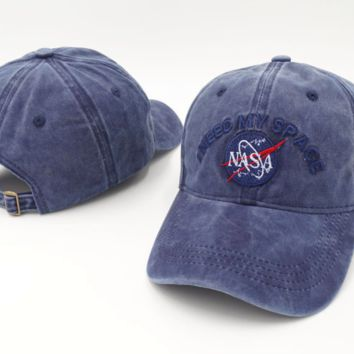 Denim Blue NASA I Need My Space Embroidered Cotton Baseball Sports Cap Hat