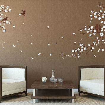 Cherry Blossoms Tree Wall Decal Wall Sticker Tree Decals Cherry Blossom Wall  Decals Vinyl Baby Nursery