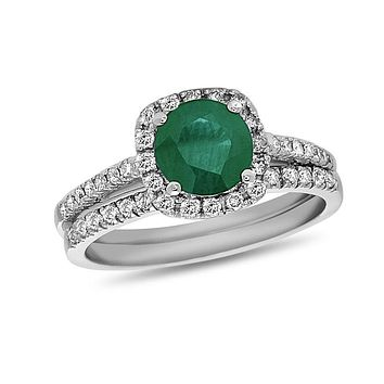 6.0mm Emerald and 3/8 CT. T.W. Diamond Frame Bridal Engagement Ring Set in 14K White Gold