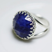 Blue Ring. Ring with Blue Stone. Silver Rings with Blue Stone. Silver Blue Ring. Sodalite Ring. Blue GemstoneRing,