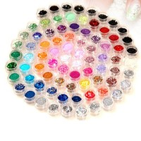 350buy 80 Pot Nail Art Glitter Dust Rhinestone Spangle Powder