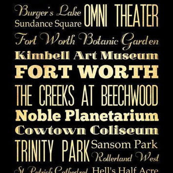 Fort Worth, Texas, Typography Art Poster / Bus  / Transit / Subway Roll Art 18X24 - Fort Worth's Attractions Wall Art Decoration -  LHA-170