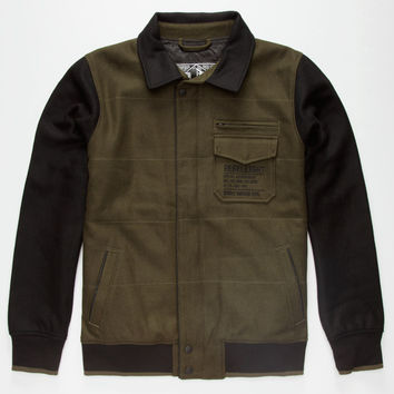 Rebel8 Wool Mens Varsity Jacket Army  In Sizes