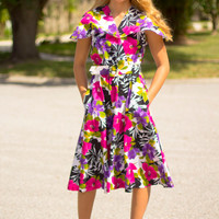 Floral print dress 80s does 50s midcentury style