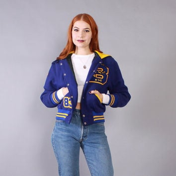 Vintage 80s Letterman JACKET / 1980s Wool Cropped Varsity Jacket with Hood XS - S