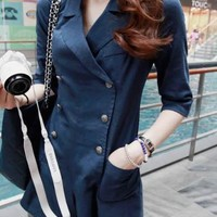 Lovely Korean Style Double-breasted Jumpsuits Clothing