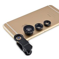 Insten 3-in-1 Universal Phone Clip Lens Wide Angle Macro Fisheye For Smartphone Samsung Note 5 4 3 HTC Desire One iPhone 6 6S Plus 6+ Motorola Nexus Camera Universal - Walmart.com