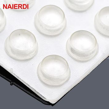 NAIERDI 40pcs Door Stopper 10MM Dia 5MM Thickness Silicon Rubber Kitchen Cabinet Self-Adhesive Damper Pad Furniture Hardware