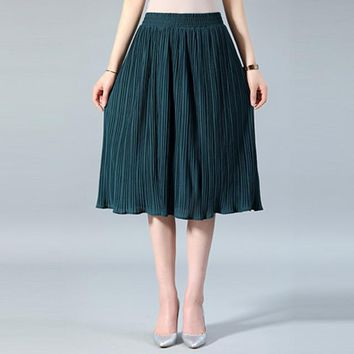2018 Elegant Pleated Skirt Spring Summer Elastic High Waist Long Skirts Vintage Solid Casual Female Harajuku Skirt Plus Size