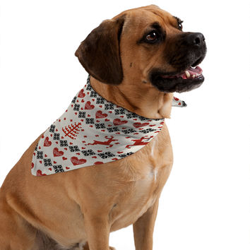 Natt Knitting Red Deer White Hearts Pet Bandana