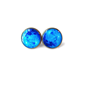 Neon Blue Moon Stud Earrings - Pastel Goth Soft Grunge Pop Culture Jewelry - Hippie Outer Space Jewelry - Blue Moon Earrings