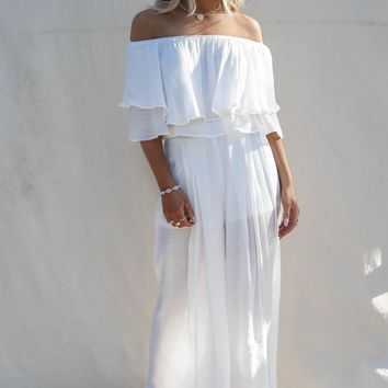 Sun Out White Off Shoulder Two Piece Set