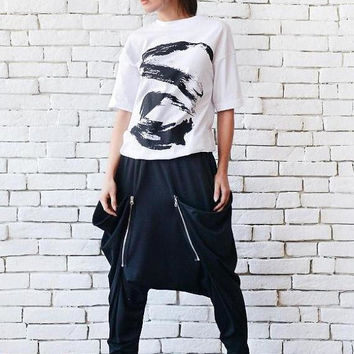 SALE NEW Drop Crotch Black Pants/Long Loose Maxi Pants/Black Casual Trousers/Oversize Black Pants/Plus Size Pants/Comfortable Black Harem Pa