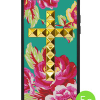 Teal Floral Gold Studded Cross iPhone 5c Case